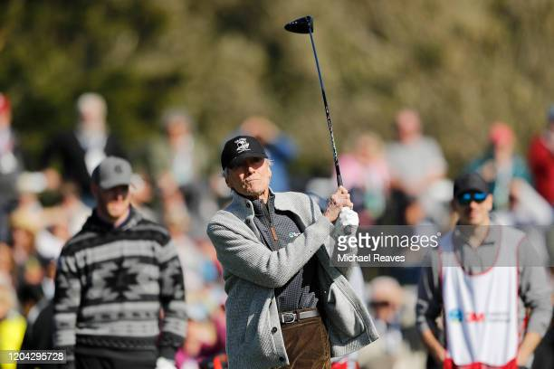 Actor Clint Eastwood plays his shot from the 17th tee during the 3M Celebrity Challenge prior to the ATT Pebble Beach ProAm at Pebble Beach Golf...