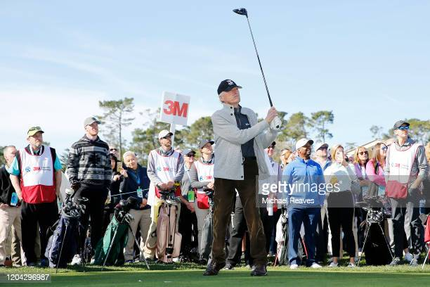 Actor Clint Eastwood plays his shot from the first tee during the 3M Celebrity Challenge prior to the ATT Pebble Beach ProAm at Pebble Beach Golf...