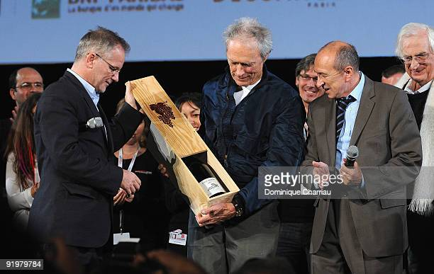Actor Clint Eastwood receives from the Mayor of Lyon Gerard Collomb a 'Jeroboam' of Famous French Wine 'Cote Rotie' before the presentation of his...