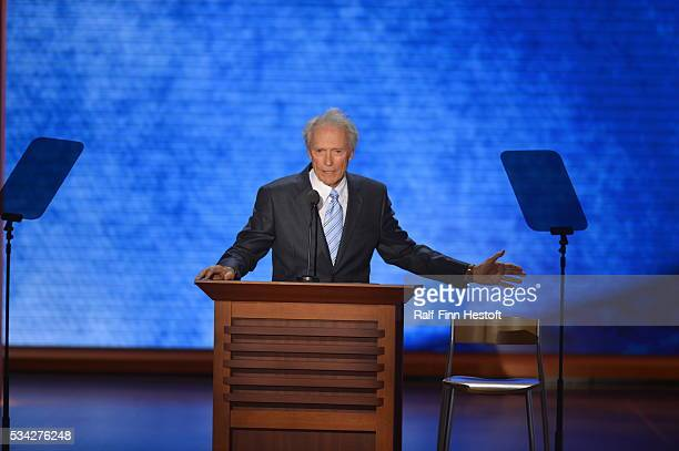 Actor Clint Eastwood speaks to an empty chair representing President Obama at the Republican National Convention in Tampa Florida