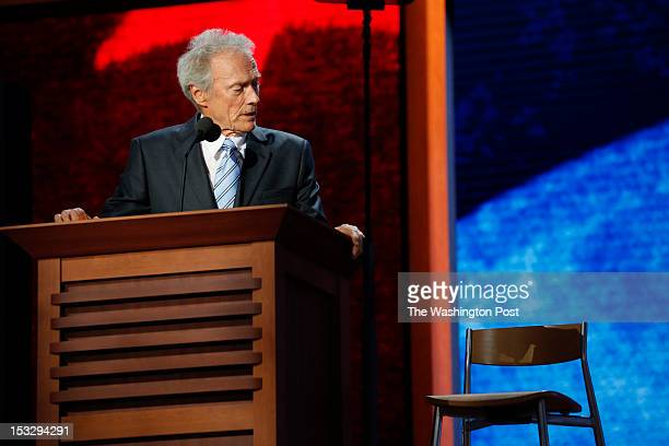 Actor Clint Eastwood talks to an empty chair during the 2012 Republican National Convention at the Tampa Bay Times Forum on August 30 2012 in Tampa...