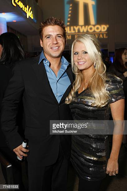 Actor Clint Mosley and girlfriend Brooke Bailey attend the Starz Hollywood Film Festival Awards after party at the Beverly Hilton Hotel on October 22...