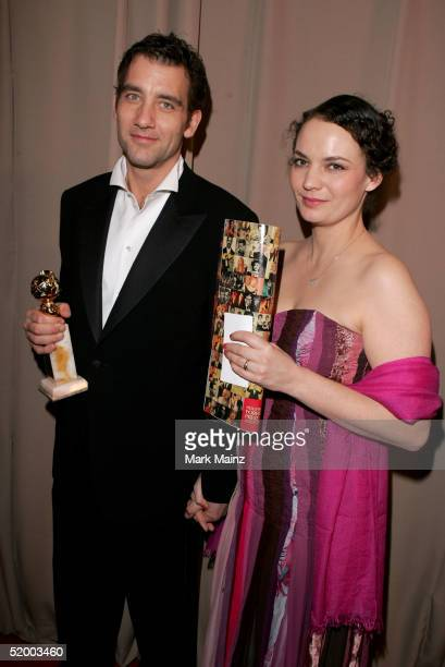 Actor Clive Owen and wife SarahJane Fenton arrive at the Miramax 2005 Golden Globes After Party at Trader Vics on January 16 2005 in Beverly Hills...