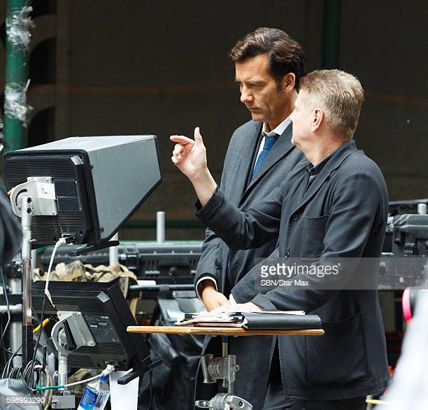 Actor Clive Owen with director Andrew Niccol are seen on September 3 2016 on the set of 'Anon' in New York City