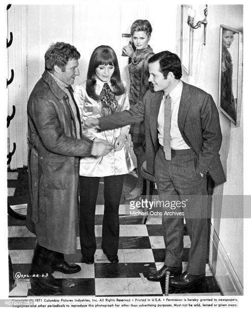actor Clive Revill actress Jennie Linden Lee Remick and Ian Holm on set of the movie 'A Severed Head ' circa 1970