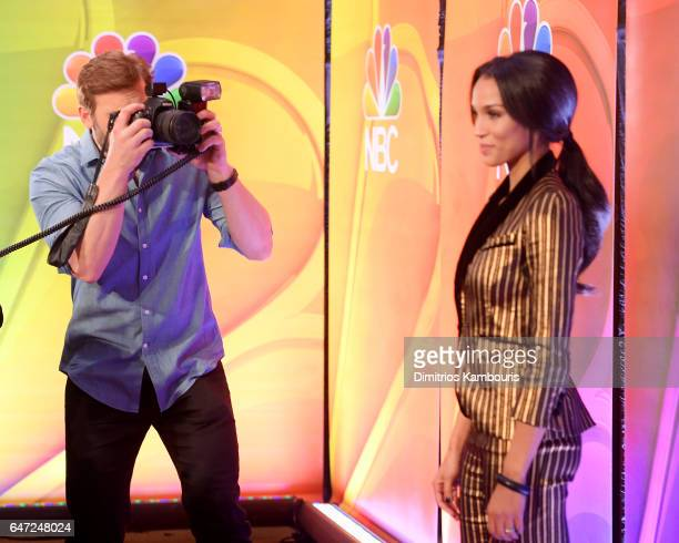 Actor Clive Standen photographs Actor Brooklyn Sudano on the red carpet at the NBCUniversal Press Junket at the Four Seasons Hotel New York on March...
