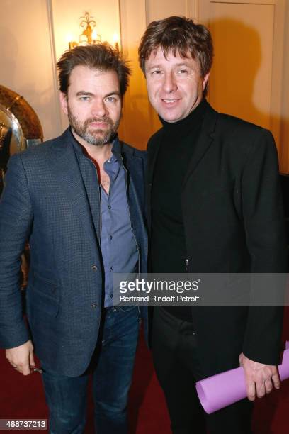 Actor Clovis Cornillac and Coowner of the Theater Richard Caillat attend the 'Salle Rejane' Opening party in 'Theatre de Paris' on February 11 2014...