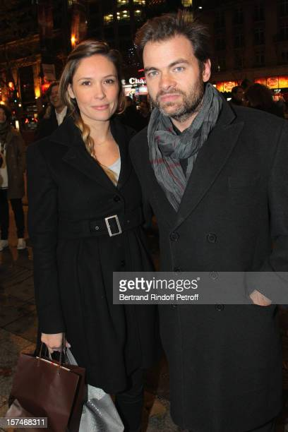 Actor Clovis Cornillac and his companion actress Lilou Fogli attend the Paris premiere of the movie 'Mes Heros' at Cinema Gaumont Marignan on...
