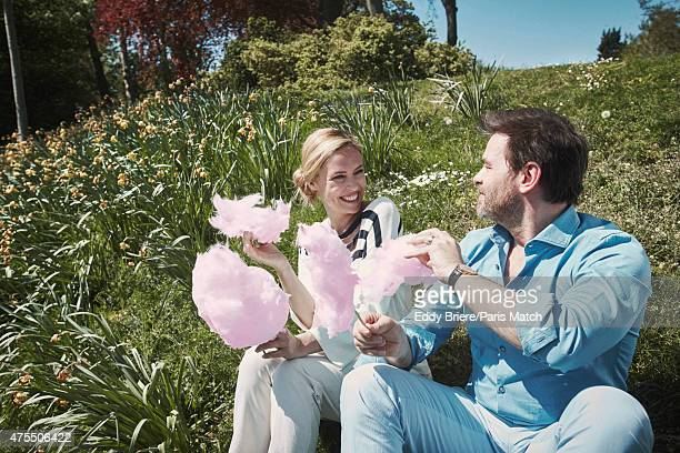 Actor Clovis Cornillac and his wife Lilou Fogli are photographed for Paris Match on April 23 2015 in Paris France