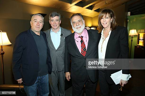 Actor cocounder of Tribeca Film Festival Robert De Niro Author Jay McInerney director Francis Ford Coppola and CoFounder of Tribeca Enterprises Jane...