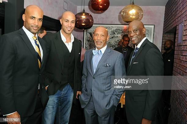 Actor/ CoFounder of ALFA Boris Kodjoe Patrick Kodjoe Gordan Erick Knowles and James Brown attend an evening of fun and ALFA luxury custom tailor...
