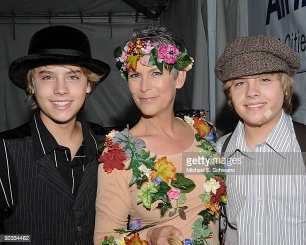 Actor Cole Sprouse actress Jamie Lee Curtis and actor Dylan Sprouse attend the CAAF Dream Halloween Fundraiser at the Barker Hanger on October 24...