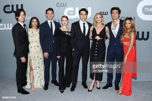 Actor Cole Sprouse Camila MendesCasey Cott Madelaine Petsch KJ Apa Lili Reinhart Charles Melton and Vanessa Morgan attend the 2018 CW Network Upfront...
