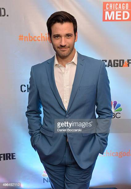 Actor Colin Donnell attends a premiere party for NBC's 'Chicago Fire', 'Chicago P.D.' and 'Chicago Med' at STK Chicago on November 9, 2015 in...