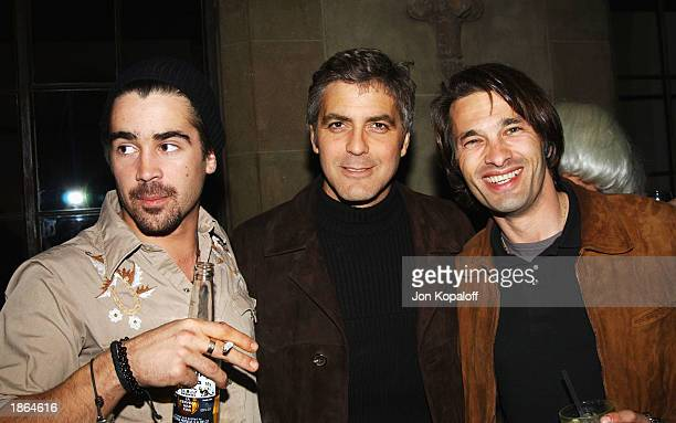 Actor Colin Farrell, actor/producer George Clooney and actor Olivier Martinez chat at Killer Films, Cinetic Media, Section Eight and John Wells...