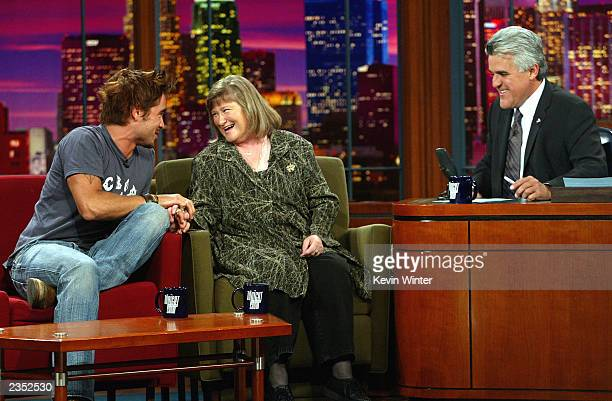 Actor Colin Farrell and $183 million lottery winner Bernadette Gietka appear on The Tonight Show with Jay Leno at the NBC Studios July 31 2003 in...