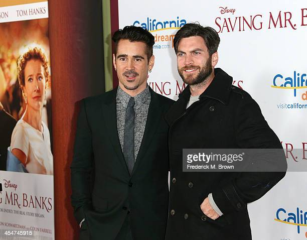 Actor Colin Farrell and actor Wes Bentley attend the Premiere of Disney's Saving Mr Banks at Walt Disney Studios on December 9 2013 in Burbank...