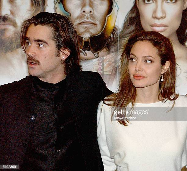 Actor Colin Farrell and actress Angelina Jolie arrive at the afterparty for Alexander the Great on January 6 2005 in Dublin Ireland