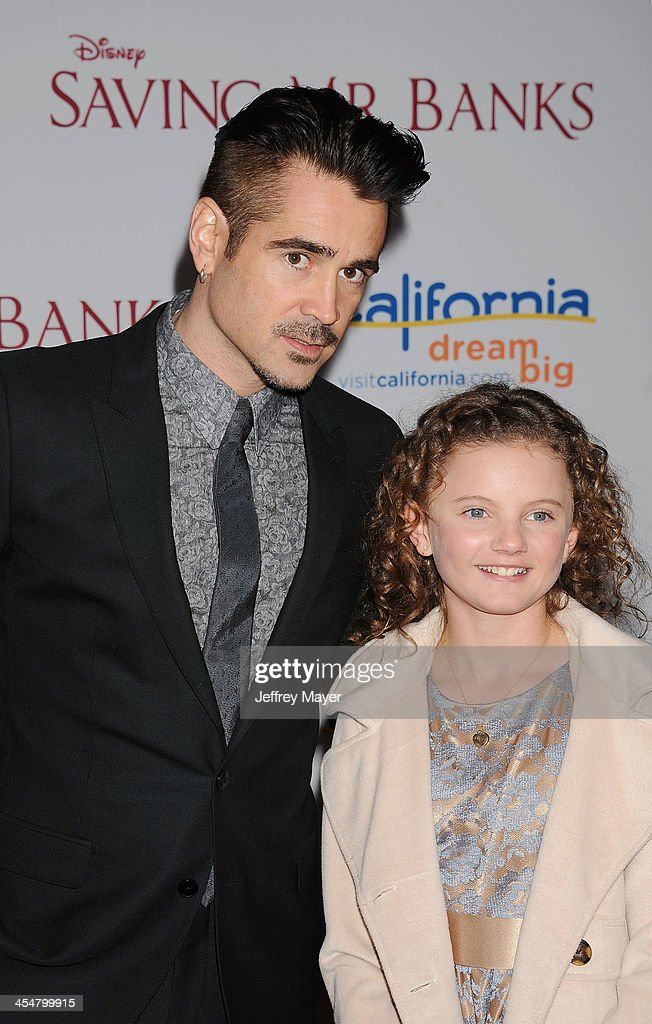 Actor Colin Farrell (L) and actress Annie Rose Buckley arrive at the 'Saving Mr. Banks' - Los Angeles Premiere at Walt Disney Studios on December 9, 2013 in Burbank, California.