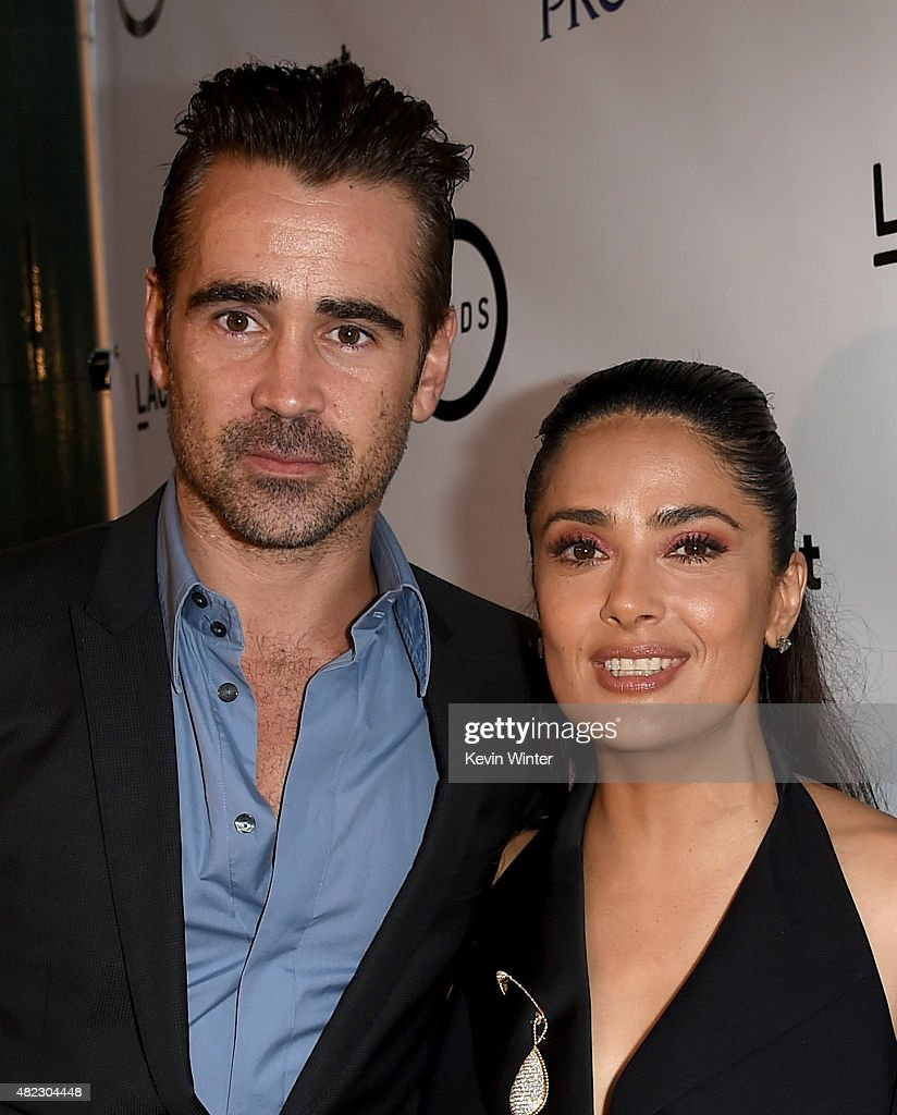 Actor Colin Farrell (L) and actress/producer Salma Hayek Pinault attend the screening of GKIDS' 'Kahlil Gibran's the Prophet' at Bing Theatre at LACMA on July 29, 2015 in Los Angeles, California.
