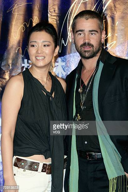Actor Colin Farrell and Chinese actress Gong Li attend the premiere of the film Miami Vice on October 30 2006 in Beijing China