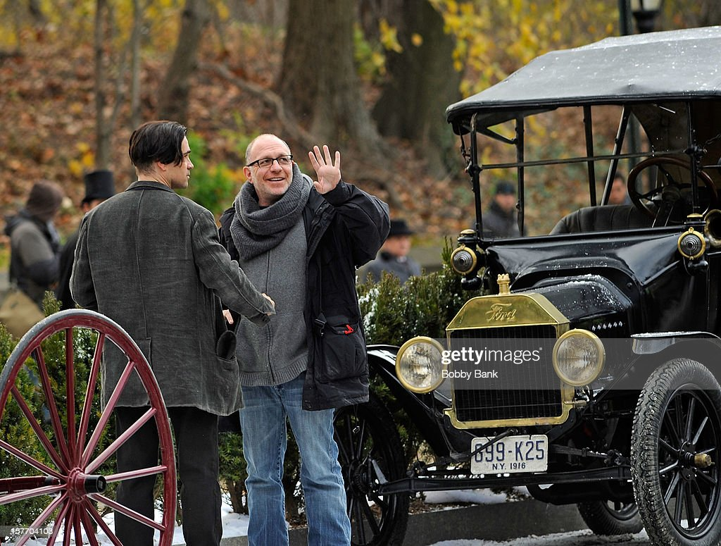 Actor Colin Farrell and director Akiva Goldsman filming on location for 'Winter's Tale' on December 5, 2012 in the Brooklyn borough of New York City.