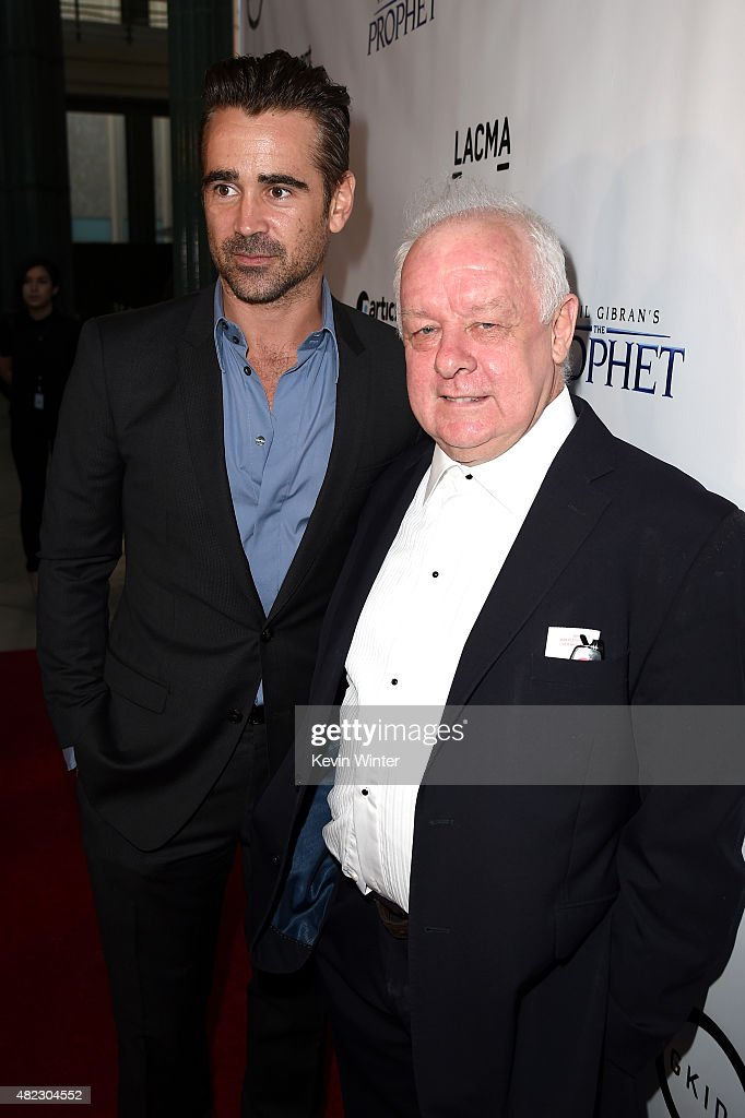 Actor Colin Farrell (L) and filmmaker Jim Sheridan attend the screening of GKIDS' 'Kahlil Gibran's the Prophet' at Bing Theatre at LACMA on July 29, 2015 in Los Angeles, California.