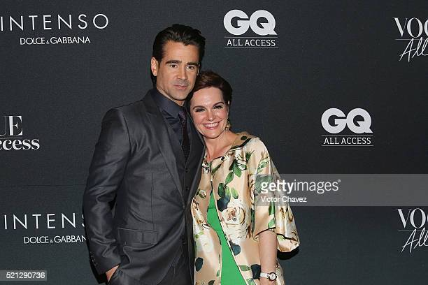 Actor Colin Farrell and Vogue Mexico beauty director Ana HughesFreund attend the Vogue GQ All Access during the MercedesBenz Fashion Week Mexico...
