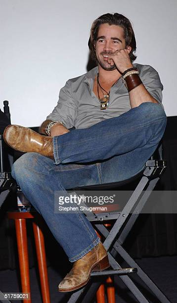 """Actor Colin Farrell answers questions from the audience during Q & A following the Variety Screening Series - """"Alexander"""" at the ArcLight Theater on..."""