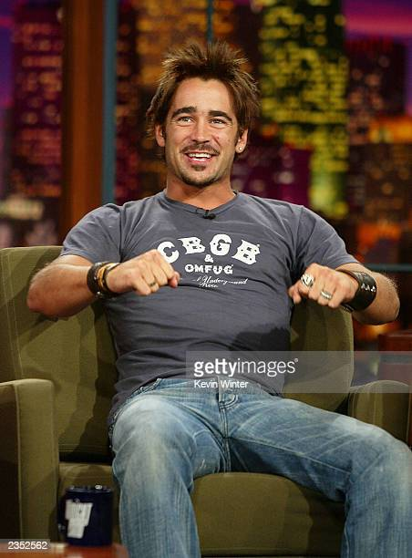 Actor Colin Farrell appears on The Tonight Show with Jay Leno at the NBC Studios July 31 2003 in Burbank California