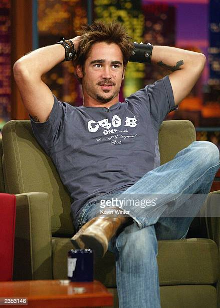 "Actor Colin Farrell appears on ""The Tonight Show with Jay Leno"" at the NBC Studios on July 31, 2003 in Burbank, California."