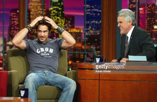 Actor Colin Farrell appears on The Tonight Show with Jay Leno at the NBC Studios on July 31 2003 in Burbank California