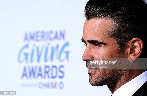 Actor Colin Farrell arrives at the American Giving Awards Presented By Chase at Dorothy Chandler Pavilion on December 9, 2011 in Los Angeles,...