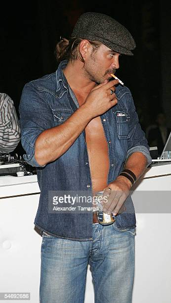 Actor Colin Farrell attends the 'Hurricane Katrina Relief Benefit' hosted by Jamie Foxx at the Delano Hotel on September 4 2005 in Miami Beach Florida