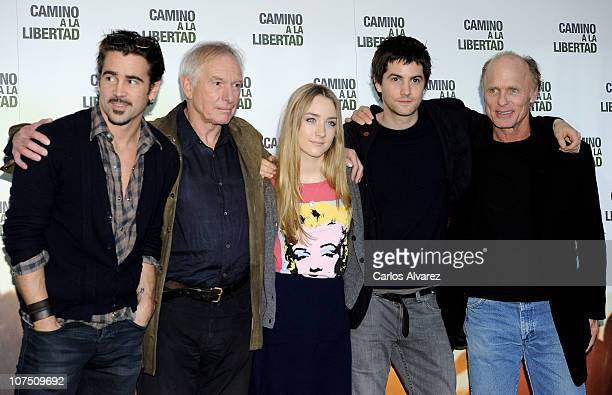 Actor Colin Farrell director Peter Weir actress Saoirse Ronan actors Jim Sturgess and Ed Harris attend The Way Back photocall at Eurostar Hotel on...