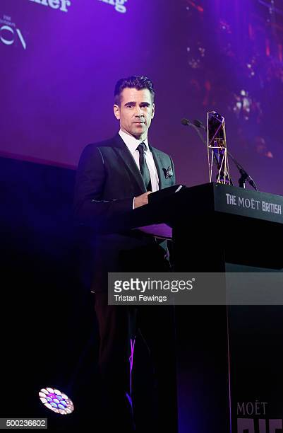 Actor Colin Farrell is seen onstage as he presents the Most Promising Newcomer Award at The Moet British Independent Film Awards 2015 at Old...
