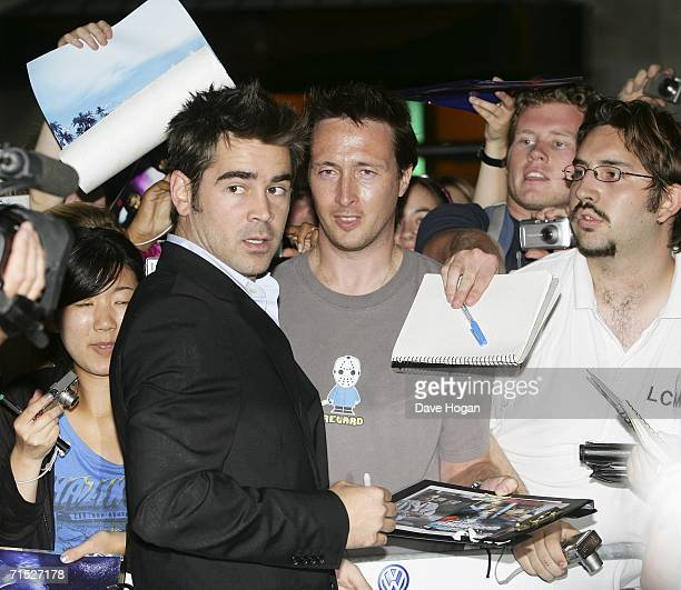 Actor Colin Farrell meets fans at the European premiere of 'Miami Vice' at Odeon Leicester Square on July 27 2006 in London England