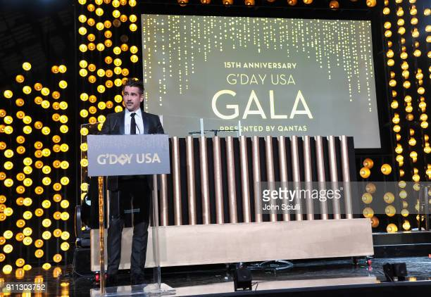 Actor Colin Farrell speaks onstage during the 2018 G'Day USA Black Tie Gala at InterContinental Los Angeles Downtown on January 27 2018 in Los...