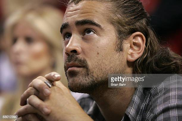 Actor Colin Farrell watches the action between the Detroit Pistons and the Miami Heat in Game Five of the Eastern Conference Finals during the 2005...