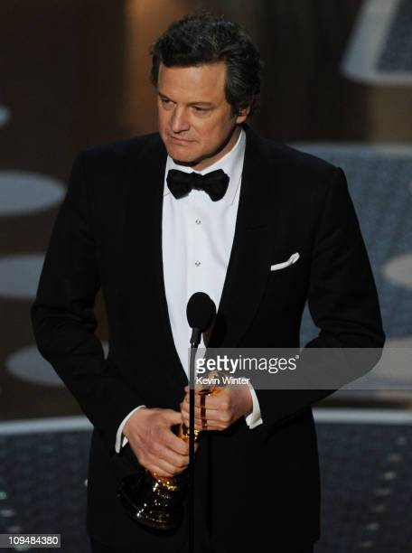 Actor Colin Firth accepts the award for Best Performance by an Actor in a Leading Role for 'The King's Speech' onstage during the 83rd Annual Academy...