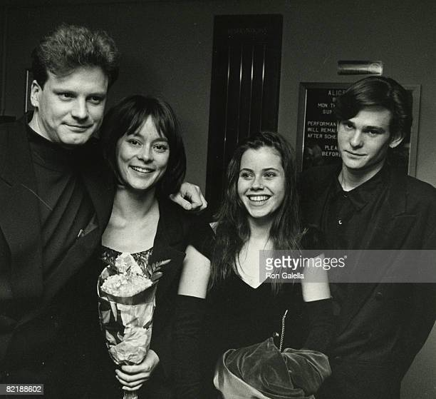 Actor Colin Firth acresses Meg Tilly and Fairuza Balk and actor Henry Thomas attending the premiere of 'Valmont' on November 13 1989 at Alice Tully...