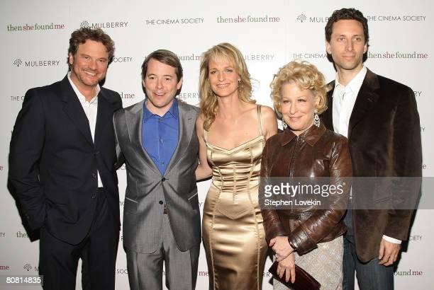 Actor Colin Firth actor Matthew Broderick Director/actor Helen Hunt actress Bette Midler and actor Ben Schenkman attend a screening of Then She Found...
