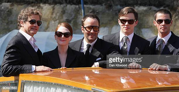 Actor Colin Firth actress Julianne Moore director Tom Ford actor Nicholas Hoult and actor Matthew Goode arrive at the Casino during the 66th Venice...