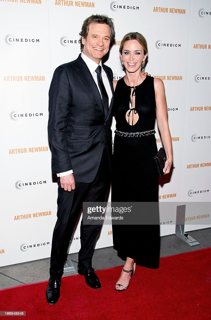 Actor Colin Firth (L) and actress Emily Blunt arrive at the Los Angeles premiere of 'Arthur Newman' at ArcLight Hollywood on April 18, 2013 in Hollywood, California.