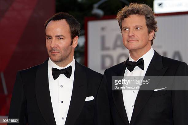 Actor Colin Firth and director Tom Ford attend the Closing Ceremony Red Carpet And Inside at The Sala Grande during the 66th Venice Film Festival on...