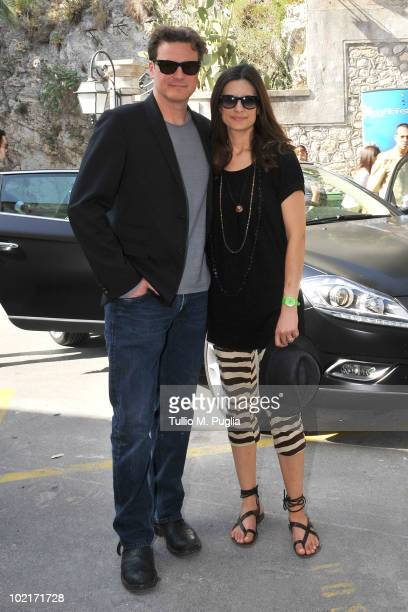Actor Colin Firth and his wife Livia Giuggioli arrive at Taormina Film Fest 2010 on June 17 2010 in Taormina Italy