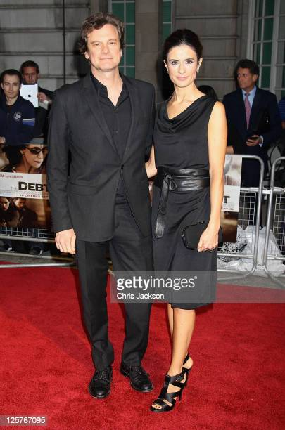 Actor Colin Firth and his wife Livia Giuggioli arrive at the UK premiere of The Debt at The Curzon Mayfair on September 21, 2011 in London, England....