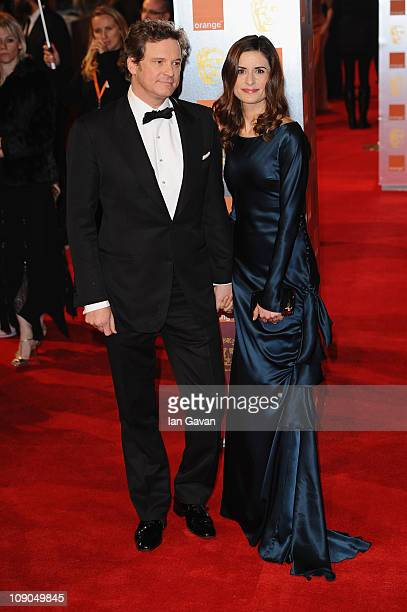 Actor Colin Firth and his wife Livia Giuggioli arrive for the Orange British Academy Film Awards at The Royal Opera House on February 13 2011 in...