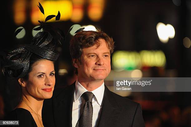 Actor Colin Firth and his wife Livia Giuggioli arrive for the World Film Premiere of Disney's 'A Christmas Carol' at the Odeon Leicester Square on...