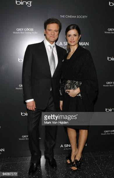 """Actor Colin Firth and Livia Firth attend a screening of """"A Single Man"""" hosted by the Cinema Society and Tom Ford at The Museum of Modern Art on..."""